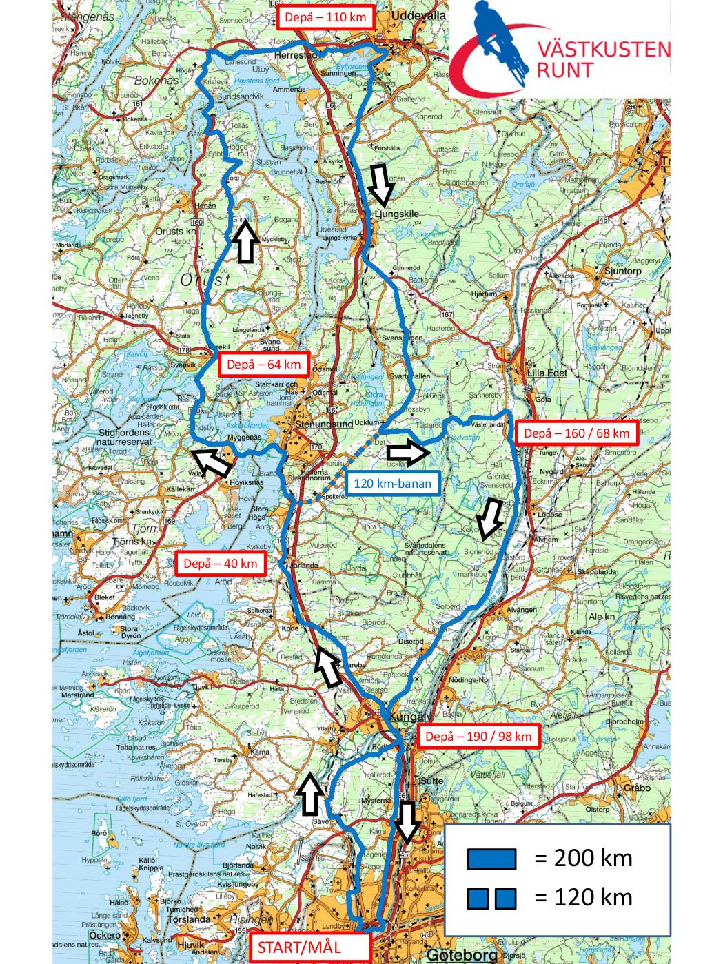 västkusten sverige karta Kartor   Västkusten Runt   Göteborgs längsta motionslopp på cykel västkusten sverige karta